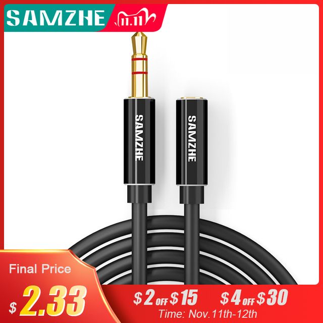 SAMZHE Jack 3.5mm Audio Extension Cord Aux Cable Extender Male to Female for Headphone  Laptop Music Player