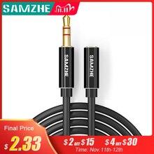 SAMZHE Jack 3.5mm ses uzatma kablosu Aux uzatma kablosu erkek kadın için kulaklık dizüstü müzik çalar