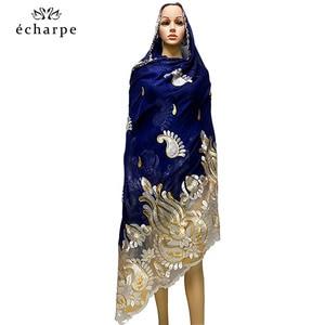 Image 2 - 2020 последняя африканская Женская шаль 100% хлопок мусульманский шарф Вышивка Сращивание с сеткой мусульманский шарф больших размеров для шали EC229