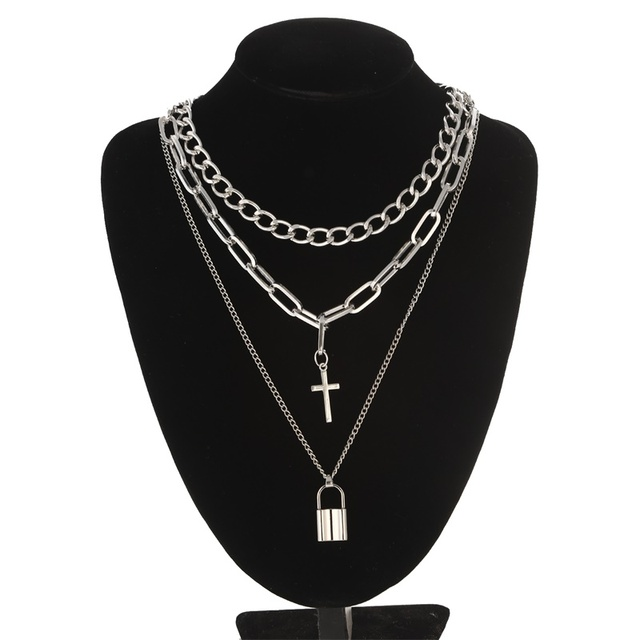 Layered Chain Necklace Neck Chains Lock Pendant  Jewelry For Women Punk Choker Padlock Goth Jewelry Grunge Aesthetic Accessories 6
