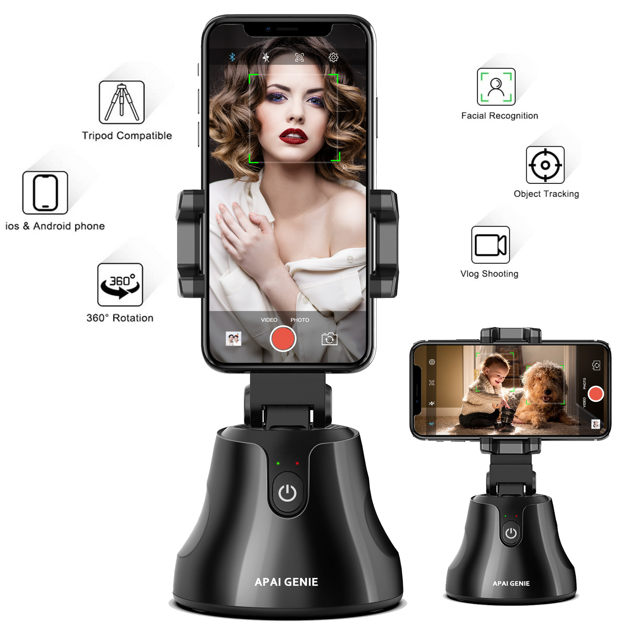 Video//Vlog Shooting Gimbal Robot Cameraman for iPhone//Android RUMIA Rotation Auto Face//Object Tracking Holder Intelligent Follow Portable Smart Selfie Stick Smart Tracking Holder