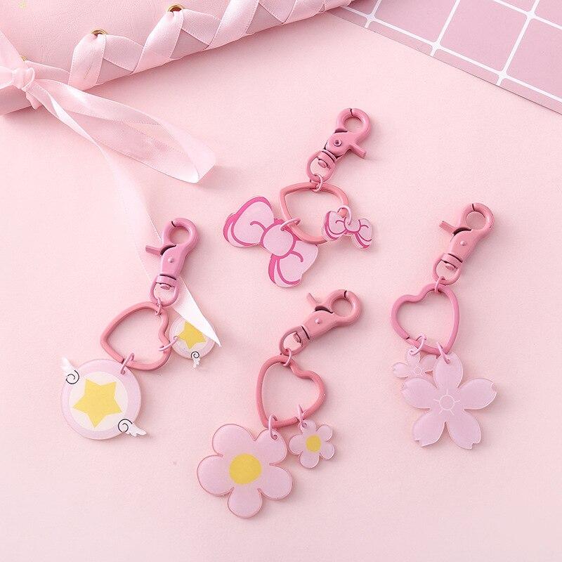 Bonito rosa flor chaveiros simples sakura estrela arcylic chaveiro menina saco pingente chaveiro presentes amantes do estudante presente