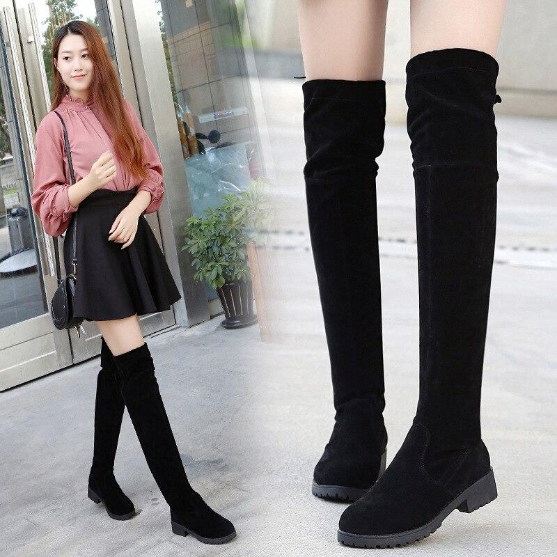 Heel Boots Winter Boots Women Woman Suede Boots Overknee Long Boots Low Flat Bottom Increase Keep Warm Woman Boots