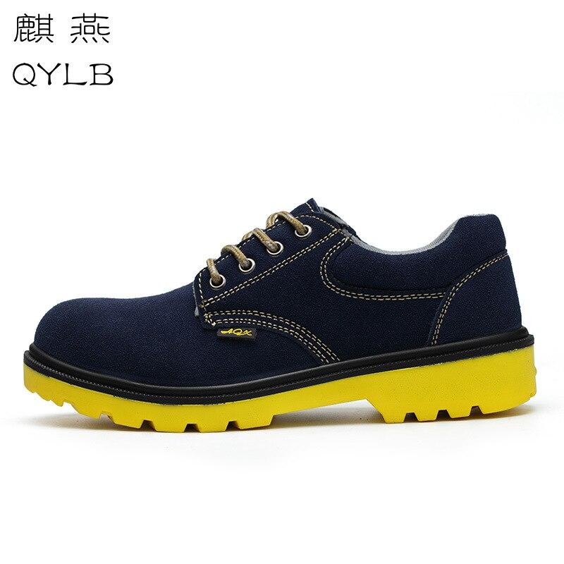 Разбивающаяся обувь, прокол, кожа, одноцветная подошва, удобная защитная обувь, дышащая защитная обувь, синяя защитная обувь