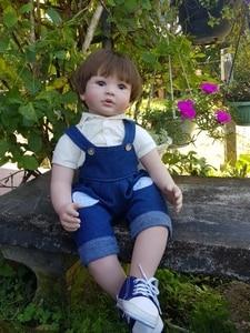 "Image 2 - 60cm Reborn Toddler Boy Doll Silicone Vinyl Limbs 24"" Cute Baby Doll Cloth Body Birthday Gift Girls Play House Boneca"