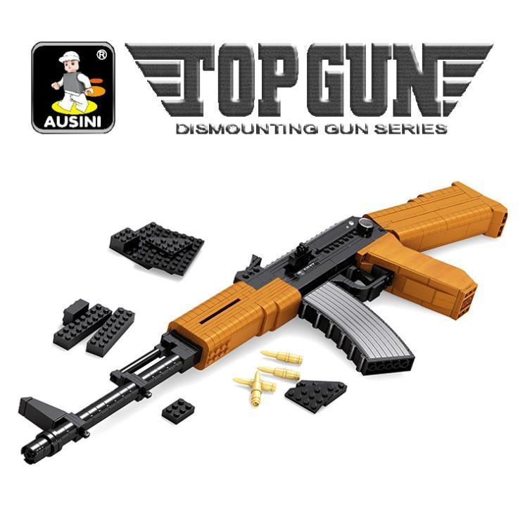 Fusil d'assaut AK47 blocs de construction technique jouet pistolet Simulation militaire Sniper pistolet Kits de construction blocs garçons assembler des jouets.