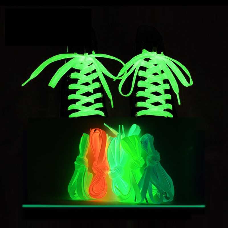 1 çift ışık ayakabı düz ayakkabı kanvas ayakkabı bağcıkları kızdırma karanlık gece renkte floresan ayakkabı bağı 80/100/120/140cm