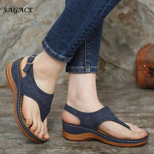 Women Sandals Clip Toe Vintage Flat Retro Shoes Woman Casual Female Beach Sandals Fashion Ladies 2020 Summer Sandalias Mujer