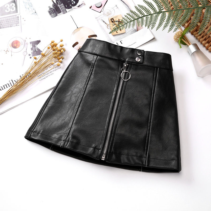 2021 new spring autumn Girls Kids leather PU zipper skirt comfortable cute baby Clothes Children Clothing