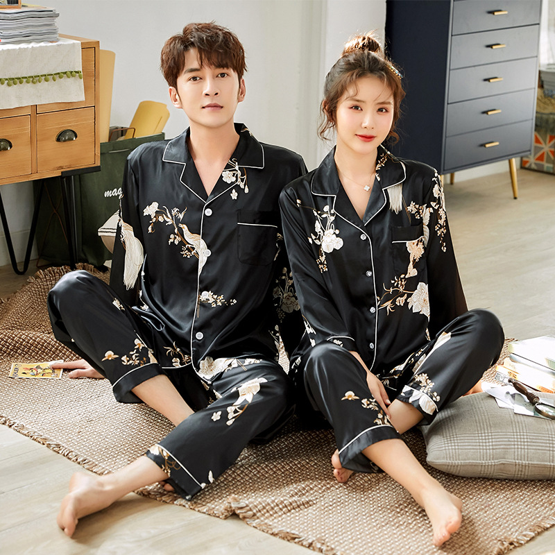 Spring Autumn Pajamas Imitation Lovers Sleepwear Long Sleeve Wedding Nightwear Men's Women's Suits Housewear
