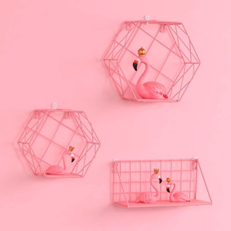 Nordic Iron Pink Storage Racks Hexagonal Grid Wall Mounted Flower Pot Holder home Wall Decorative shelf Girl room decor 1PC