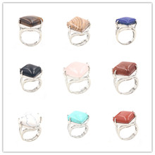 FYJS Unique Silver Plated Rhombus Shape Black Agates Resizable Finger Ring Blue Turquoises Stone Jewelry