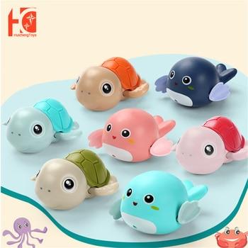 Bath Toys Baby Water Chain Clockwork Cute Cartoon Animal Tortoise Infant Swim Penguin Fish Wound-Up Kids Beach Water Bath Toy недорого