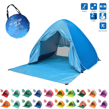 Beach Tent Pop Up Automatic Open Tent Family Ultralight Folding Tent Tourist Fish Camping Anti-UV Fully Sun Shade 2-5 Persons new large throw tent outdoor 2 3persons automatic speed open throwing pop up windproof waterproof beach camping tent large space