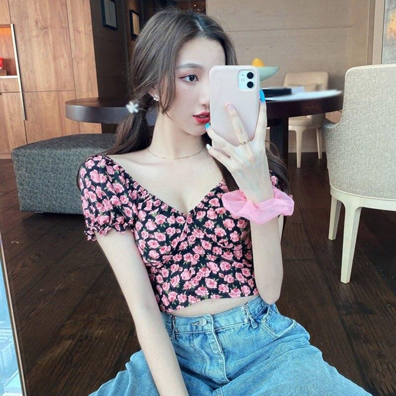Women Fashion Summer Blouses Short Tops Tees Small Floral Print V-Neck Shirts Sexy Sweet Short Sleeve Chiffon Shirt Hot Sale 3
