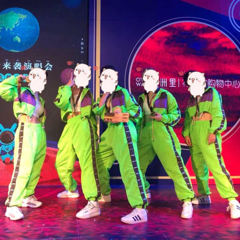Kinderen Hip Hop Dans Slijtage Meisjes Jazz Moderne Dansen Kostuums Fluorescentie Kleding Suits Kinderen Stadium Kostuums Outfits DQS2135
