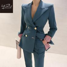 2 Piece Office Set Spring Blue Blazer And Pants Suit For Woman Womens Suits Pink Cuff Golden Buttons Double Breasted Workwear