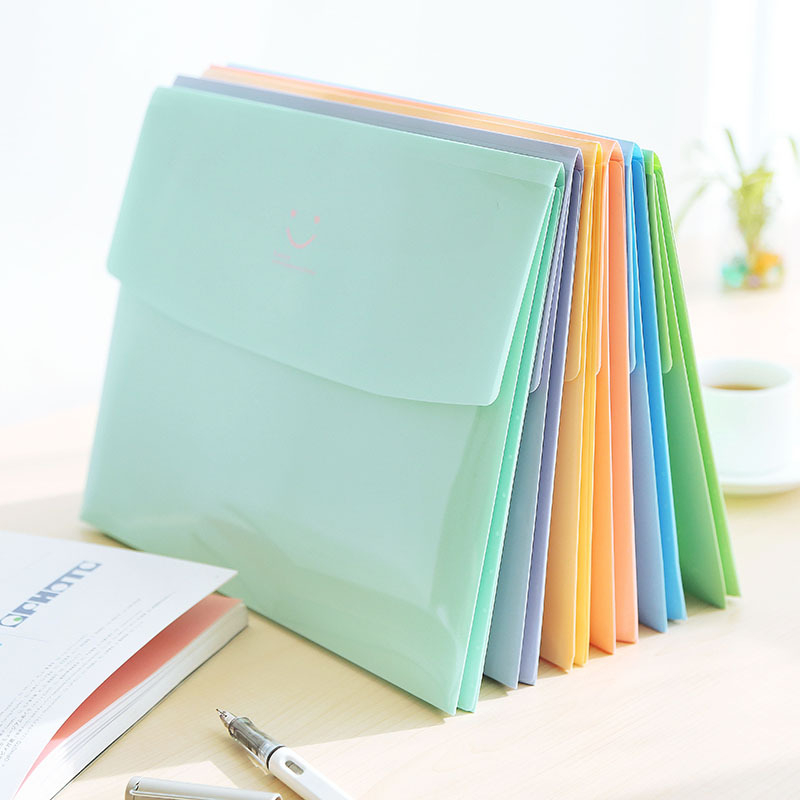 DL Wholesale Korean Stationery Candy Color Smile Folder A4 File Package Folder And Korean Version Stationery Office Supplies For