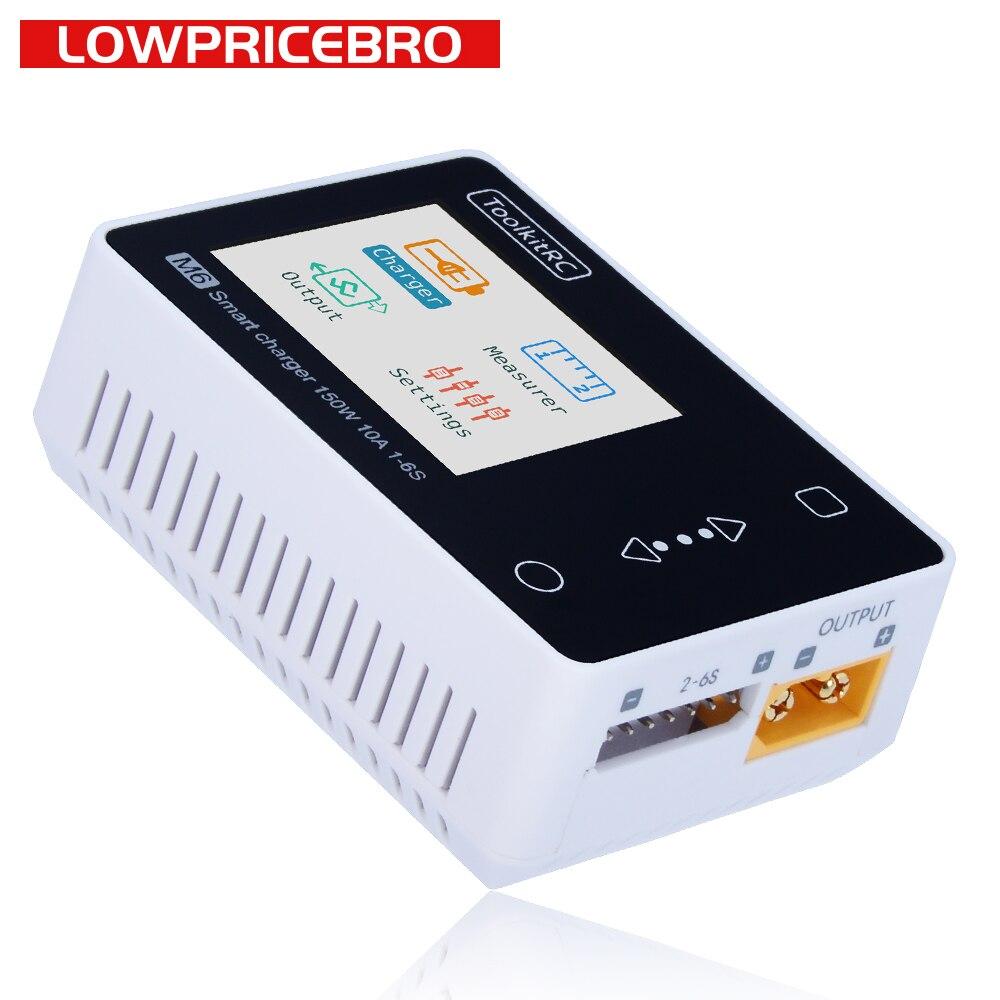 toolkitrc m6 battery charger balance 150 w 10a dc lipo descarregador para 1 6 s lihv