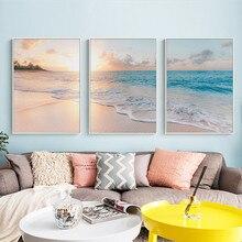 Pintura em tela rosa para praia e mar, arte para parede mar, posteres e impressões nórdicas, abacaxi, fotos de decoração para sala de estar