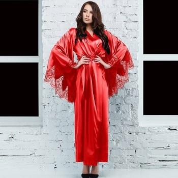 Tnicas de encaje negras y rojas párr mujer Kimono de satén Sexy Vestido largo de ba o. lencera y pijama con cinturn Bata de