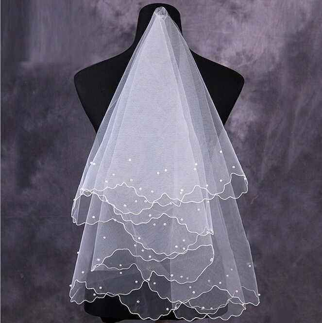 Hochzeit Schleier lange Einfache Elegent Tüll Weiß Elfenbein Zwei-Schichten Braut Braut Zubehör Kurze Frauen Schleier Mit Kamm Braut schleier