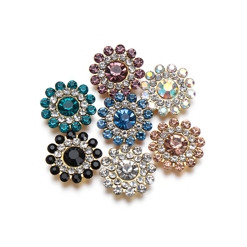 10PCS 14mm Flower-shaped Rhinestone Buttons Sparkling Crystal Glass Stone Steel Bottom Clothes Decor Sewing Buttons Accessories