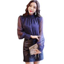Autumn Polka Dot Women Blouse Base Shirt Stand Collar Top Loose Office Lady Long Sleeve Fashion Elegant Cool Chiffon Spring(China)