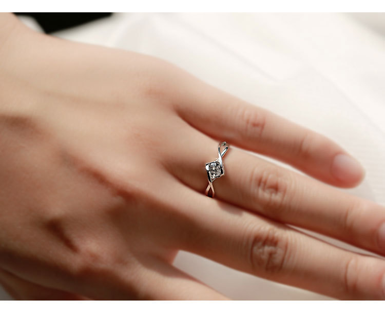 Classical Female AAA Crystal Zircon Stone Infinite Ring Silver color Finger Ring Promise Engagement Rings for Women 4