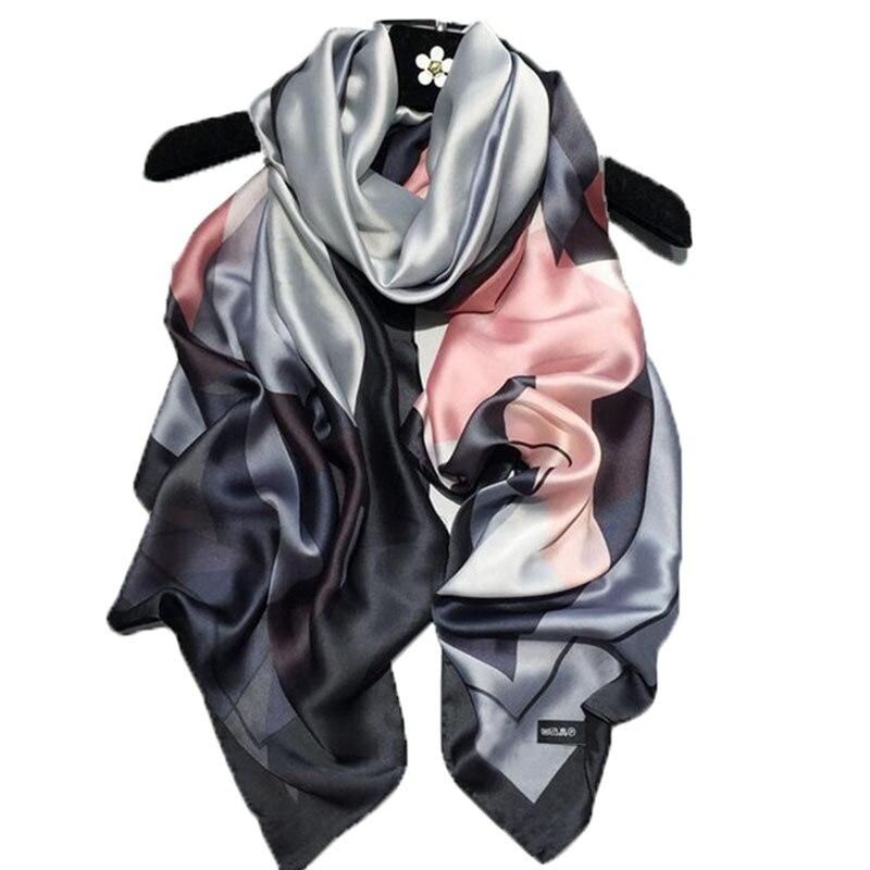 2018 Fashion Scarf Luxury 100% Silk Scarf Women Scarves Shawl High Quality Print Hijab Wrap 180*90 CM