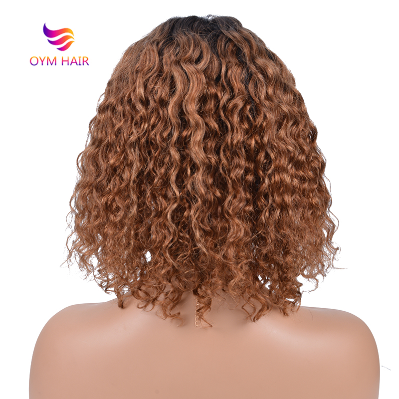 Short Water Wave Bob Wigs For Black Women Ombre Human Hair Wig 150% Density Brazilian Remy Hair U Part Lace Wig Human Hair Wigs