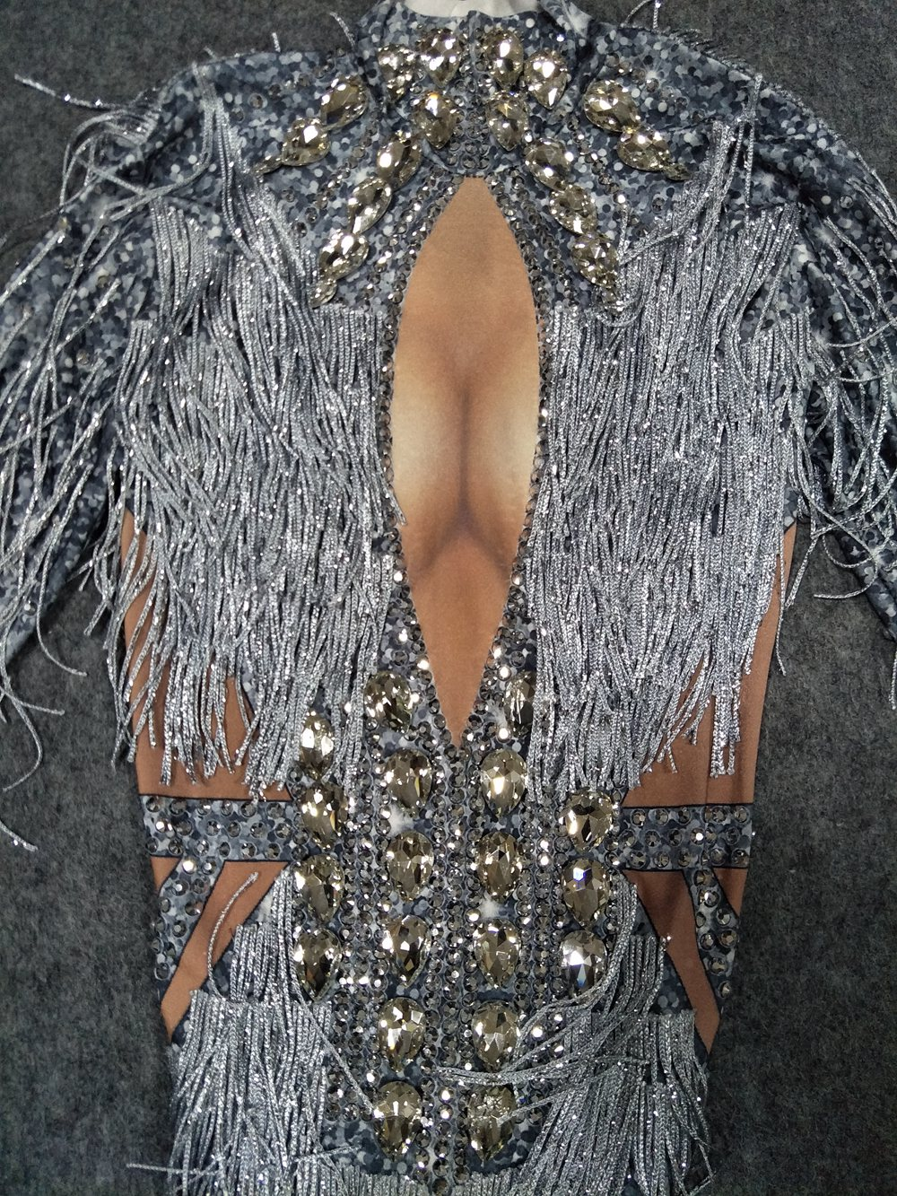 Sparkly Rhinestone Fringes Jumpsuit Dance Costume Big Crystals Bodysuit Tassel Bodysuit Party Stage Wear Dance Show Sexy Outfit