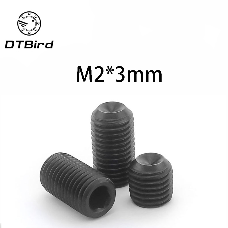 Free Shipping 100pcs/Lot <font><b>M2x3</b></font> mm <font><b>M2</b></font>*3 mm Alloy steel Hex Socket Head Cap <font><b>Screw</b></font> Bolts set <font><b>screws</b></font> with cup point DT2 image
