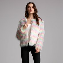 Furry Faux Fur Coat Women Fluffy Warm Outerwear 2019 Autumn Winter rainbow Coat Jacket Hairy Collarless Overcoat Plus Size 4XL(China)