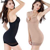 Jececer Wedding Full Slips Women's Shapers Dress Lining Control Slips Slimming Underwear Sexy Body Shaper Shapewear Black Nude