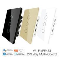 120 modell Neue Verbesserte WiFi Wand Touch Smart Licht Schalter Smart Leben/Tuya 100-250v Wifi + bluetooth Modus Hintergrundbeleuchtung Optional