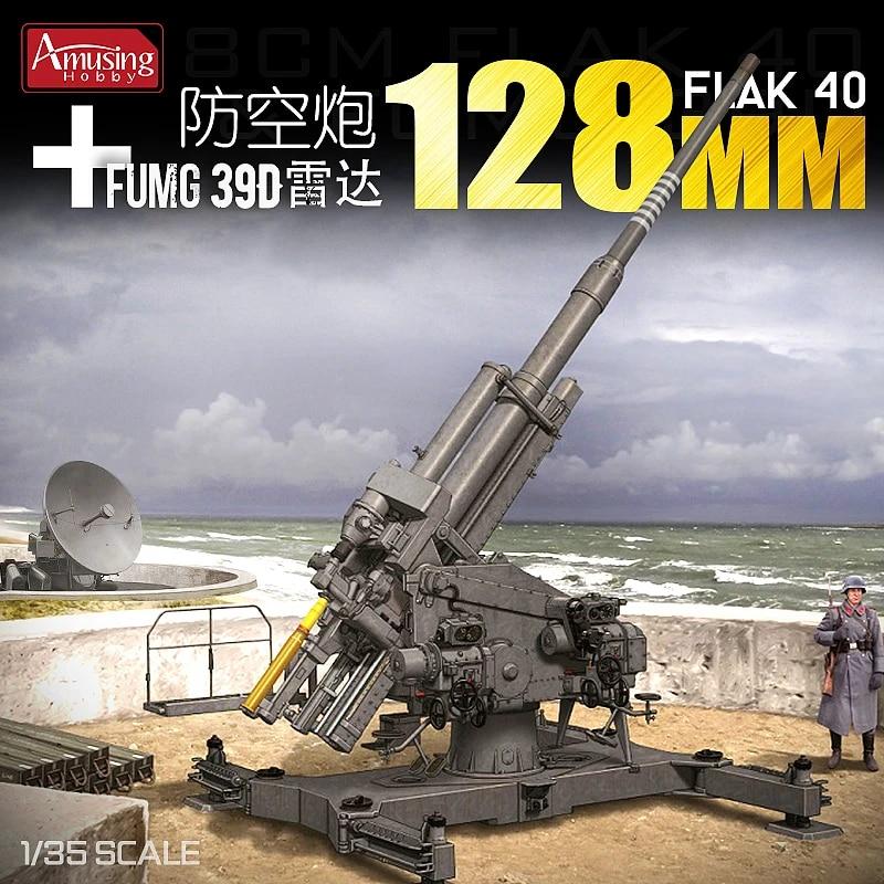 Amusing Hobby 1/35 35A020 German 12.8cm Flak 40 & FuMG 39D Model Building Kits  - AliExpress