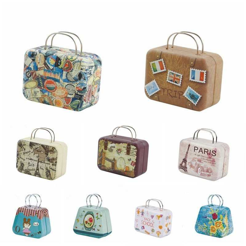 Fashion Retro Doll Bag Metal Suitcase Bag Kids Toys Cartoon Doll Accessories Gifts 1/6 1/4 BJD SD Miniature Toys For Children