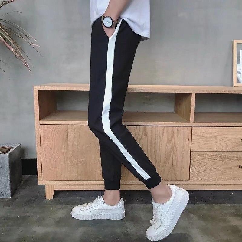 Summer Hong Kong Style New Style MEN'S Casual Pants Thin Skinny Pants Teenager Capri Side Edge White Beam Leg Athletic Pants
