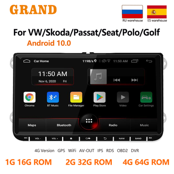 GRAND 2 Din Android Car Radio For VW Volkswagen Golf Touran Skoda Octavia Yeti GPS Navigation Multimedia Player 2din Autoradio image