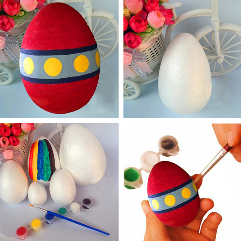 10Pcs Children Toys Novelty Easter Festival Blank White Foam Eggs Artificial Eggs DIY Decor Toys Ornament Easter Eggs Toys Hot