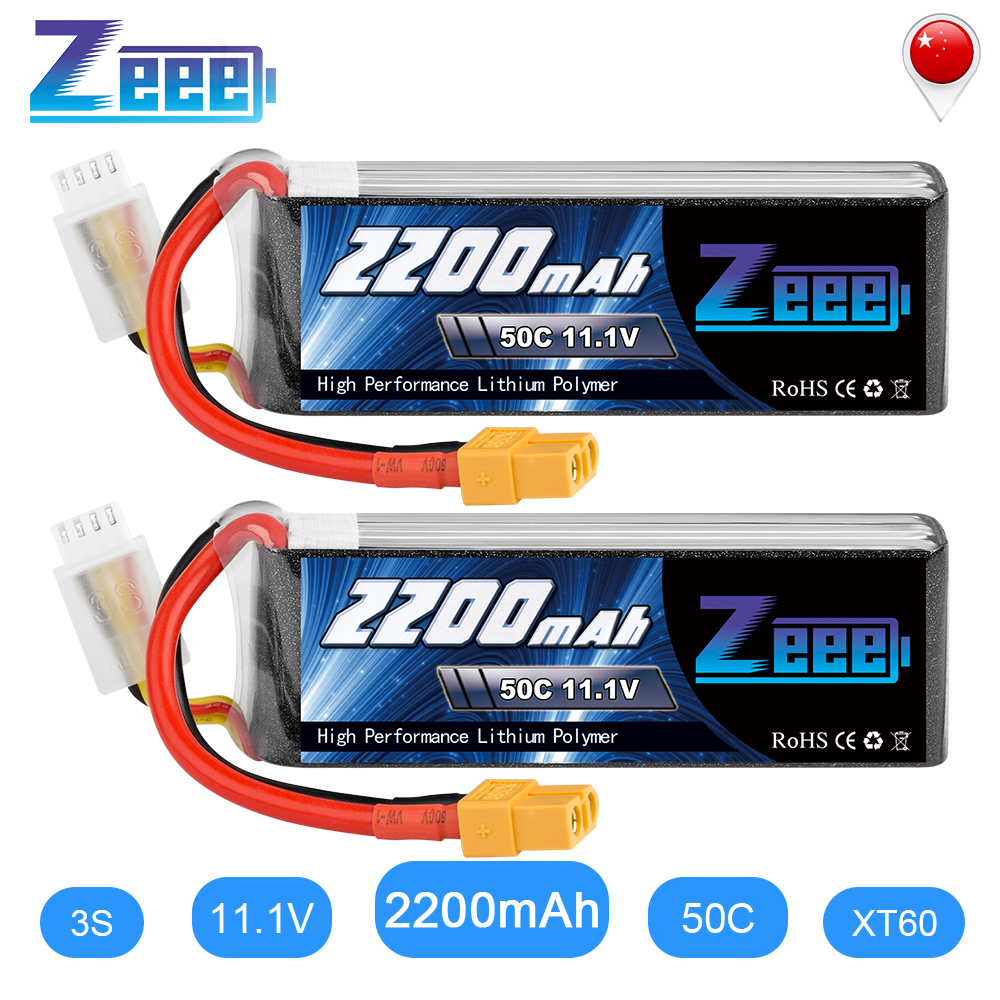 2units Zeee <font><b>2200mAh</b></font> 3S <font><b>11.1V</b></font> 50C <font><b>Lipo</b></font> <font><b>Battery</b></font> with XT60 Plug For RC Quadcopter QAV250 Drone Boat Airplane image