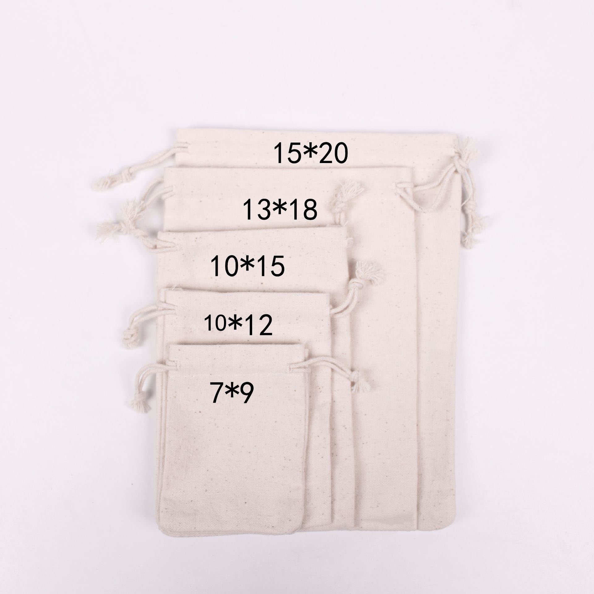 50pcs/lot 7x9/10x12/10x15/13x18/15x20cm Drawstring Natural Canvas Cotton Bags & Pouches For Food Packing Bag Custom Print Logo