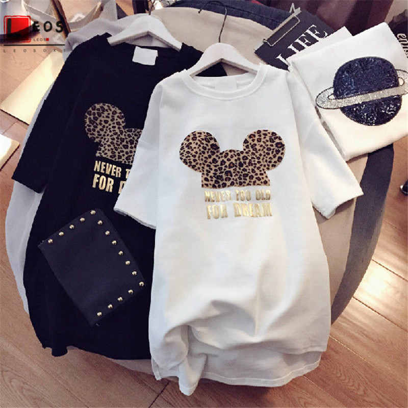 Ins Hot Short Sleeve For Woman T Shirt Fashion  Leopard Print Letters Loose Summer Print Cartoon T Shirts Aesthetic Harajuku