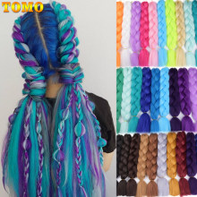 TOMO Rainbow Jumbo Braids Synthetic Braiding Hair 24inch 60cm Crochet Hair Extensions Xpression Crochet Braids 100g/Pack(China)