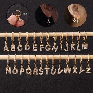 1 шт. кольцо диаметром 9 мм для пирсинга маленькие Cz 26 английская инициальная буква Алфавит Висячие хрящевая спираль серьги для пирсинга уха ...