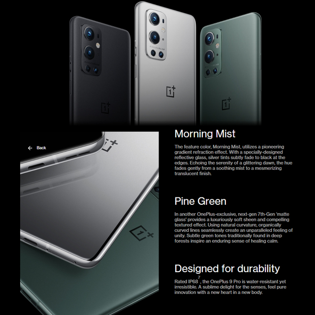 """Global Firmware Oneplus 9 Pro 5G MobilePhone 8/12GB RAM 256GB ROM Snapdragon 888 Octa Core 65W Flash Charge 6.7 """" 120Hz AMOLED 4"""