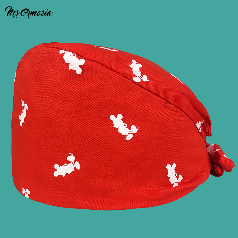 High Quality Red Printed Men And Women 100% Cotton Pharmacy Nurse Cap Band Elasticated Operating Room Surgical Cap Doctor Hats