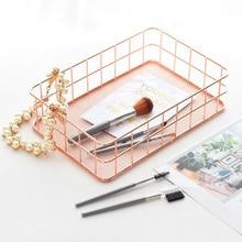 Rectangular Metal Storage Basket, Pink Gold Iron Storage Basket, Home Garden Office Basket, Finishing Iron Baskets Fruit Basket