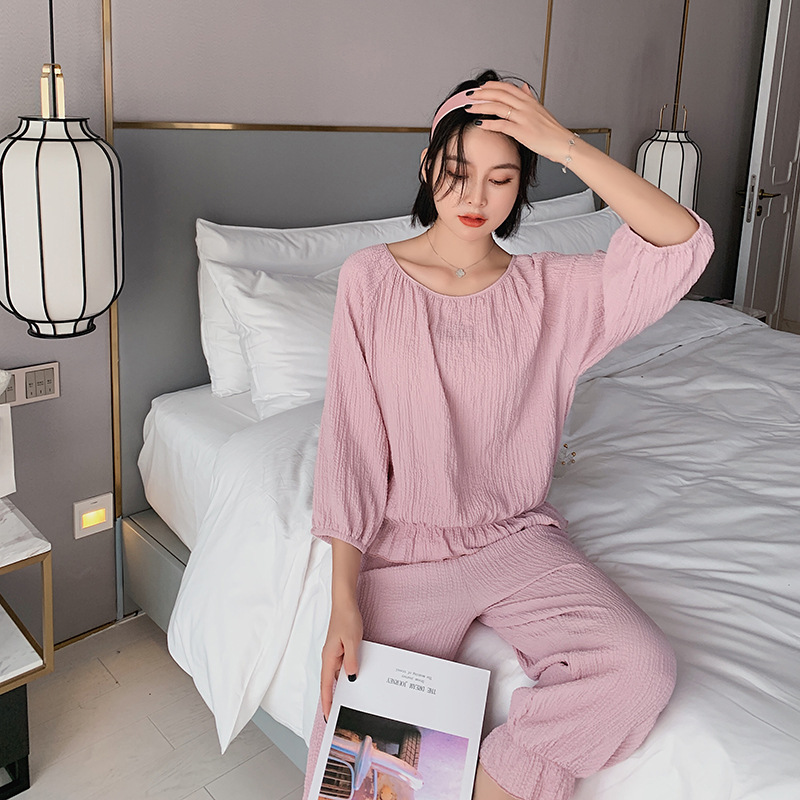 20 Years Spring and Summer New Ladies Solid Color Pajamas Trendy Home Clothes Simple Cotton Comfortable Suit Pink Pyjamas Women